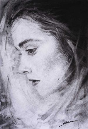 portrait charcoal drawing