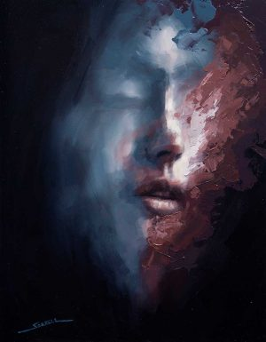 oil painting portrait called Inferno